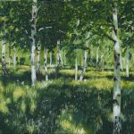 """Oil on Canvas 49x30cm. Freely inspired by """"Birch Grove"""" (1889) of Isaac Levitan (1860-1900)"""